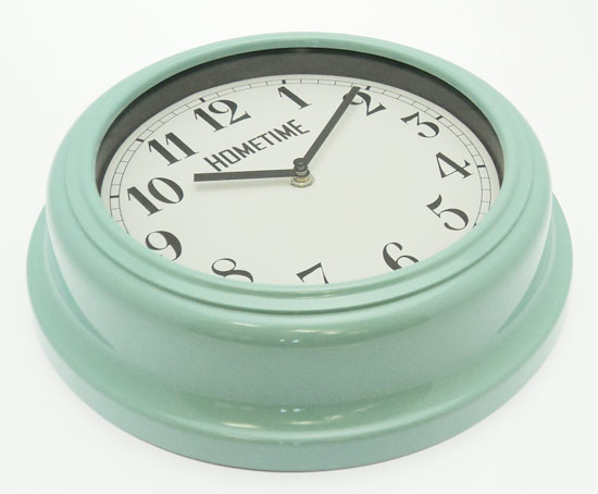 retro usa diner style kitchen wall clock duck egg blue