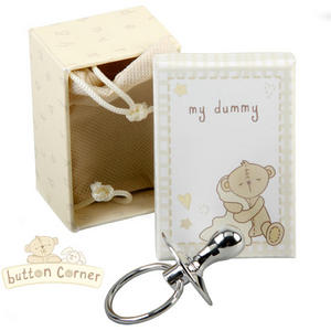 Baby Christening Gift. Button Corner Silver Dummy Preview