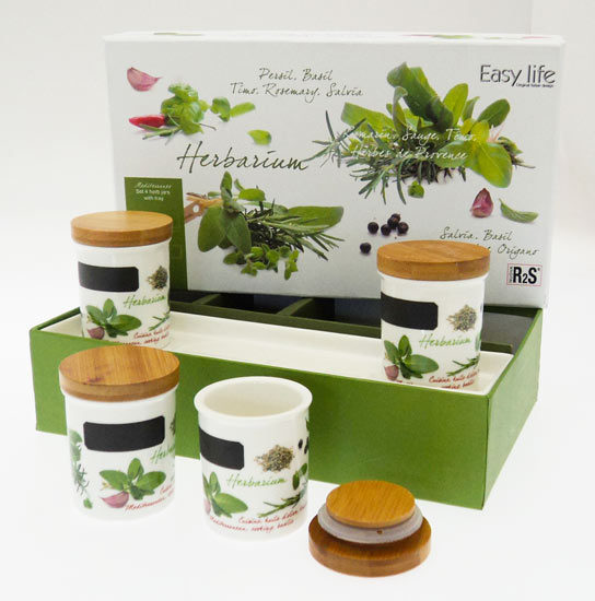 Easy life porcelain bamboo herb jars storage spice italian for Italian kitchen gifts