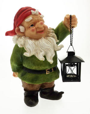 "12"" Garden Gnome With Hanging Tealight Lantern Preview"