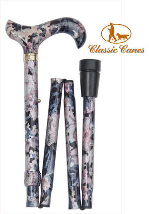 Ladies Adjustable Folding Fashion Walking Stick Cane in Tapestry Colour Preview