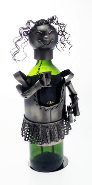 Metal Wine Bottle Holder Fun Party Girl Design Ornament  Preview