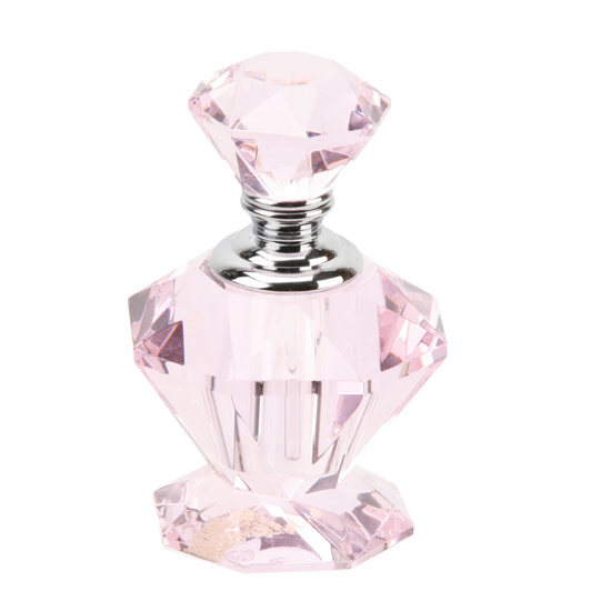 Collectable Art Deco Empty Perfume Bottles Pink Crystal Glass Scent Bottle 203