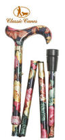 View Item Classic Canes Folding Walking Stick in Black and Multi Coloured Floral Pattern