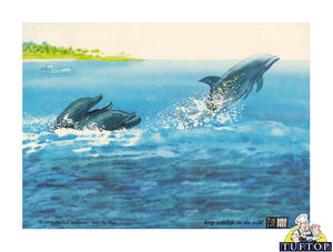 Medium Tuftop Glass Chopping Board in Into The Blue (dolphins swimming) Design Preview