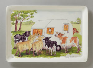 Alisons Animals Large Serving Tray - Nosey Neighbours Design Preview