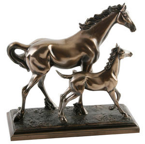 Polished Bronze Colour Horse and Foal Ornament 20cm Preview