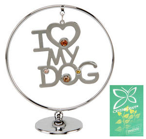 Crystocraft Circle Ring Gift Ornament I Love My Dog Preview