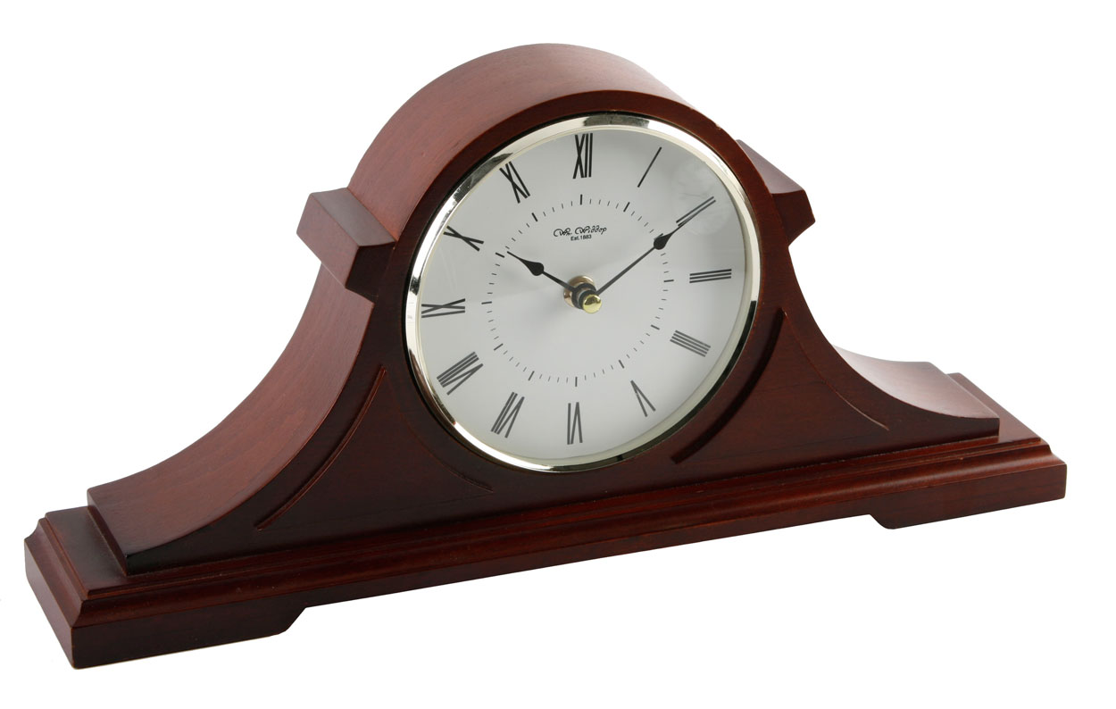 Large 15u0026quot; Wide Dark Wood Napoleon Chiming Mantel Clock Traditional Design Mantle : eBay