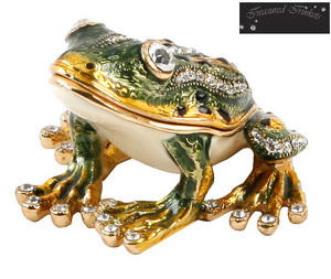 Treasured Trinkets Sitting Frog Metal Die Cast Trinket Box Preview