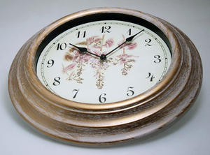 Antique Cream Deep Case Floral Face Design Wall Clock Preview
