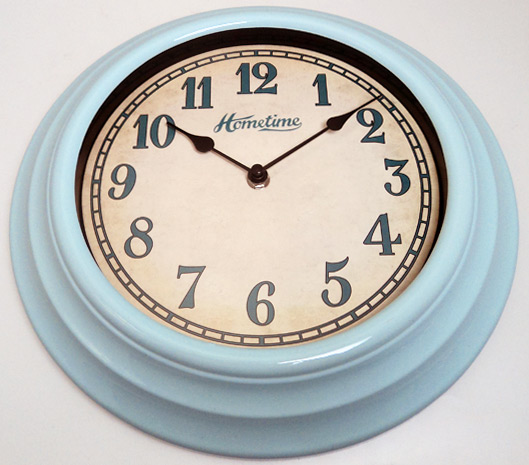 funky hometime wall clocks 30cm retro blue kitchen wall