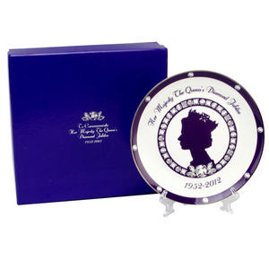 A Collectable Bone China Queen's Diamond Jubilee Celebratory Plate With Stand Preview