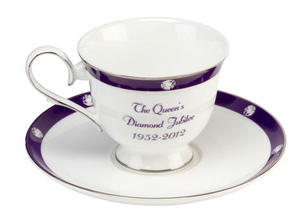 A Collectable Bone China Queen's Diamond Jubilee Celebratory Coffee Cup and Saucer Preview