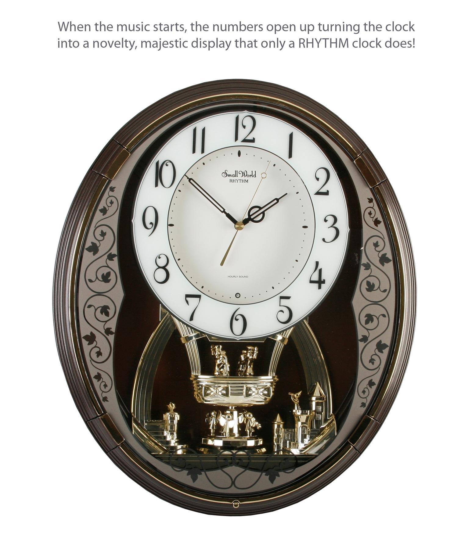 leaf design rhythm small world musical motion wall clock. Black Bedroom Furniture Sets. Home Design Ideas