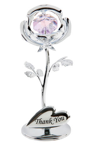 "Crystocraft Swarovski Crystal Celebration Rose ""Thank You"" Gift Ornament Preview"