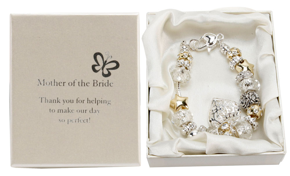 ... Mother of The Bride Charm Bracelet Silver Gold Bead - Wedding Gifts
