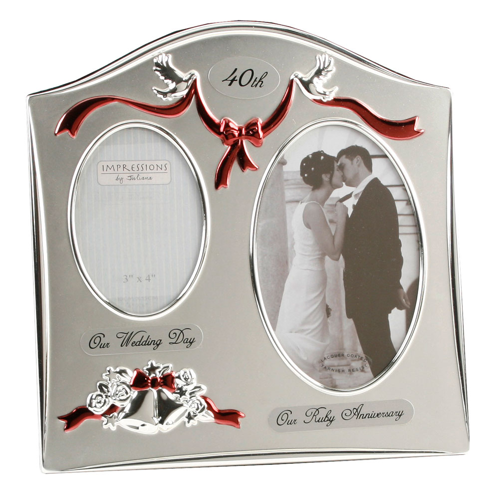 40th Wedding Anniversary Gift Ideas New Zealand : Silverplated Wedding Anniversary Gifts 40th Ruby Twin Photo Picture ...