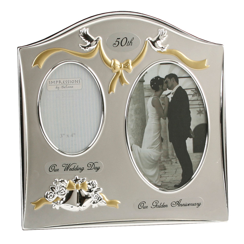 ... Wedding Anniversary Gifts 50th Golden Twin Photo Picture Frame eBay