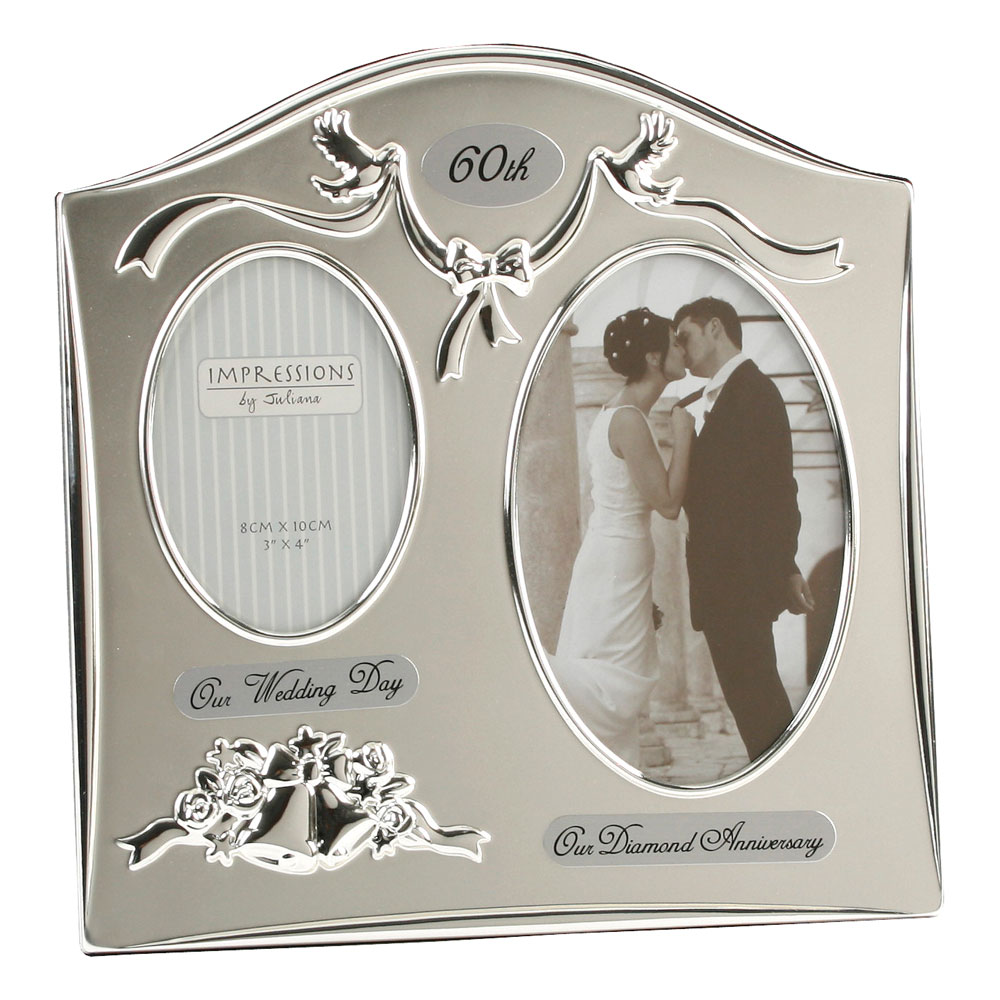 Silverplated wedding anniversary gifts 60th diamond twin for 60th wedding anniversary gifts