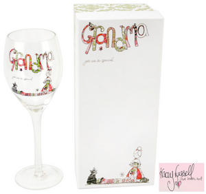 Tracey Russell Wine Glass for GRANDMA with Glitter Finish Preview