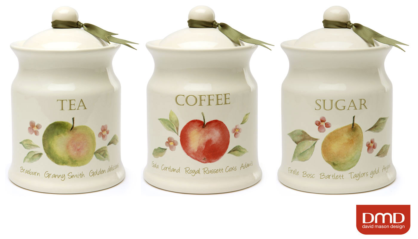 Cream Orchard Fruits Ceramic Tea Coffee Sugar Kitchen Storage Canisters Set