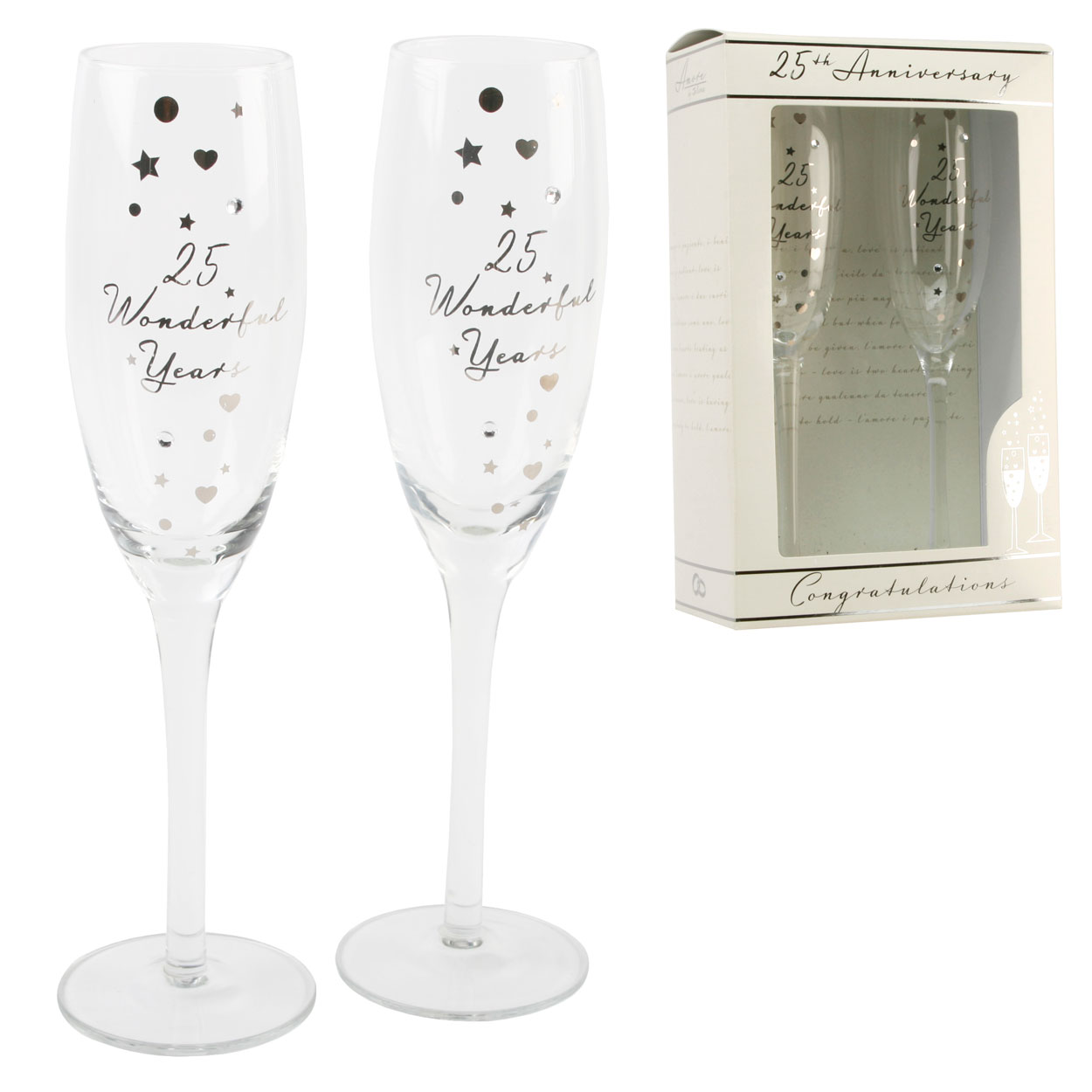 Silver Wedding Gift Ideas Uk : ... Silver Anniversary Champagne Flutes Glasses Wedding Gift Set eBay