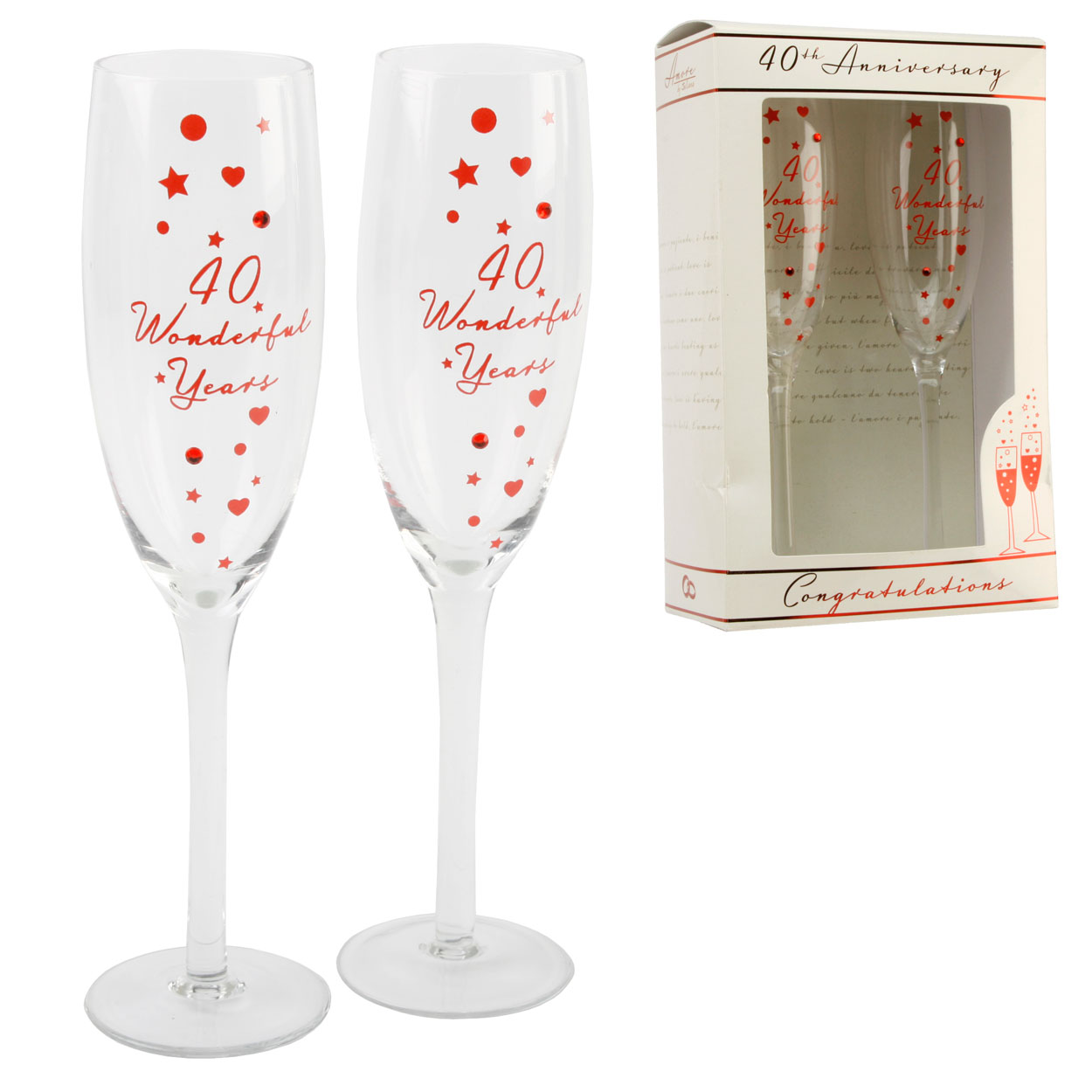 ... 40th Ruby Anniversary Champagne Flutes Glasses Wedding Gift Set eBay
