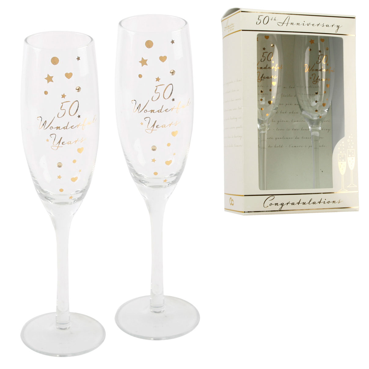 Wedding Gift Champagne Glasses : ... 50th Gold Anniversary Champagne Flutes Glasses Wedding Gift Set eBay