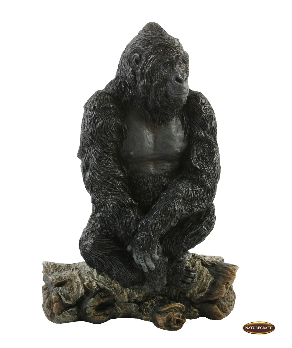 Lifelike adult gorilla sitting on branch ornament figurine gift display statue ebay - Gorilla figurines ...