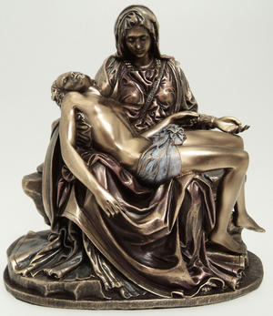 Bronze Colour Virgin Mary Holding Jesus La Pieta Gift Ornament Preview