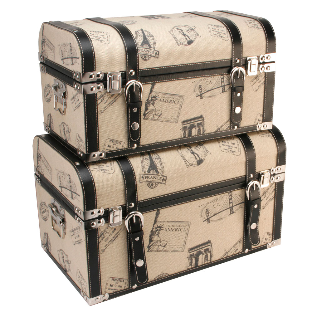 ... Trunk Luggage Design & Black Straps Storage Boxes - Toy / Keepsake Box