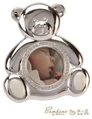 Bambino Christening Gift Silverplated Photo Frame Teddy Bear Preview