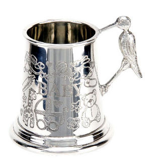 Baby Pewter Mug with Baby Stork Handle Preview