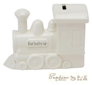 Bambino Christening Gift Ceramic Money Box Train and Crystals Preview