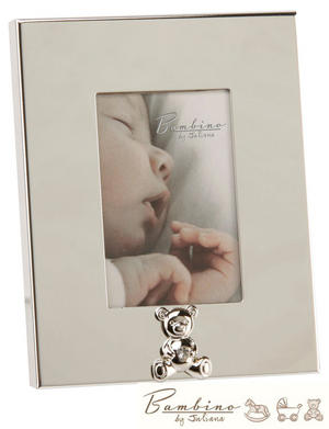 Bambino Christening Gift Silverplated Photo Frame with Teddy Bear Icon 5cm x 8cm Preview