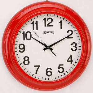 Hometime Large 46cm Shiny Red Wall Clock Preview