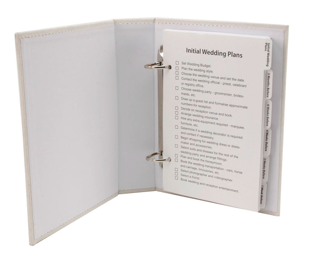 ... Wedding Planner Book / Diary Organiser in Cream Suede Engagement Gift