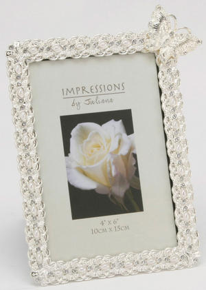 Silverplated Pearl and Butterfly Photo Frame 10cm x 15cm Preview