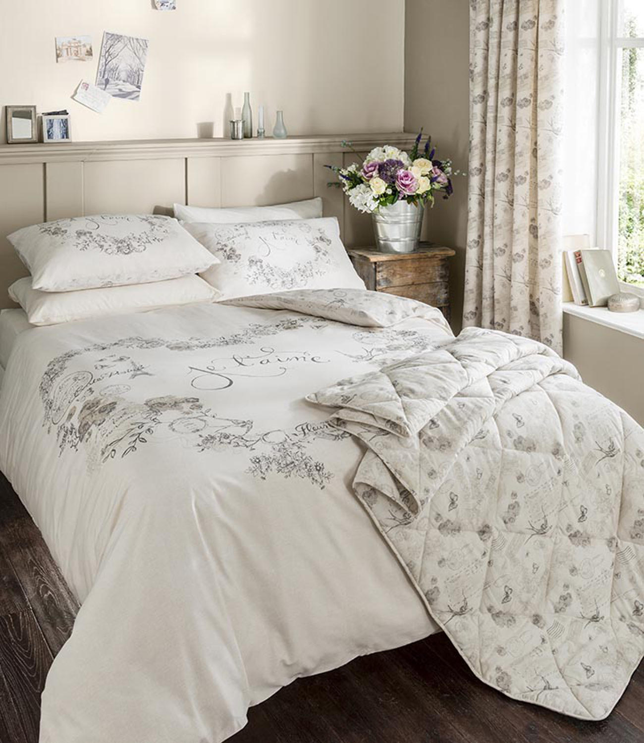 Catherine lansfield je t 39 aime duvet set modern floral nature design bed linen ebay - What you need to know about jacquard bedding ...