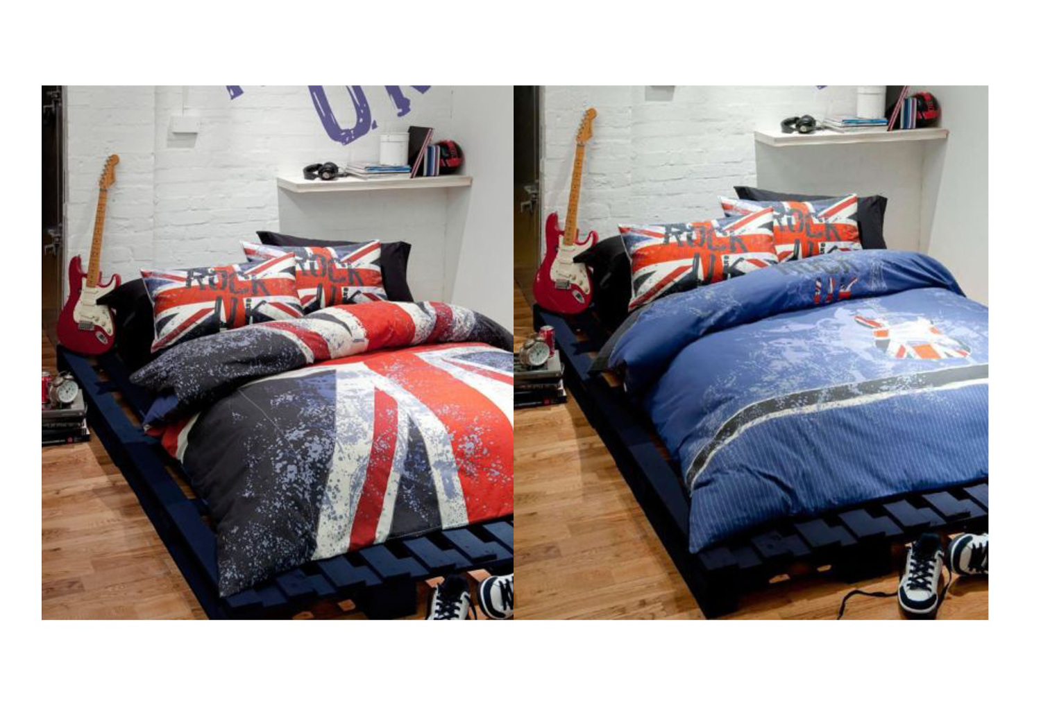 rock uk couette catherine lansfield union jack guitare lit. Black Bedroom Furniture Sets. Home Design Ideas