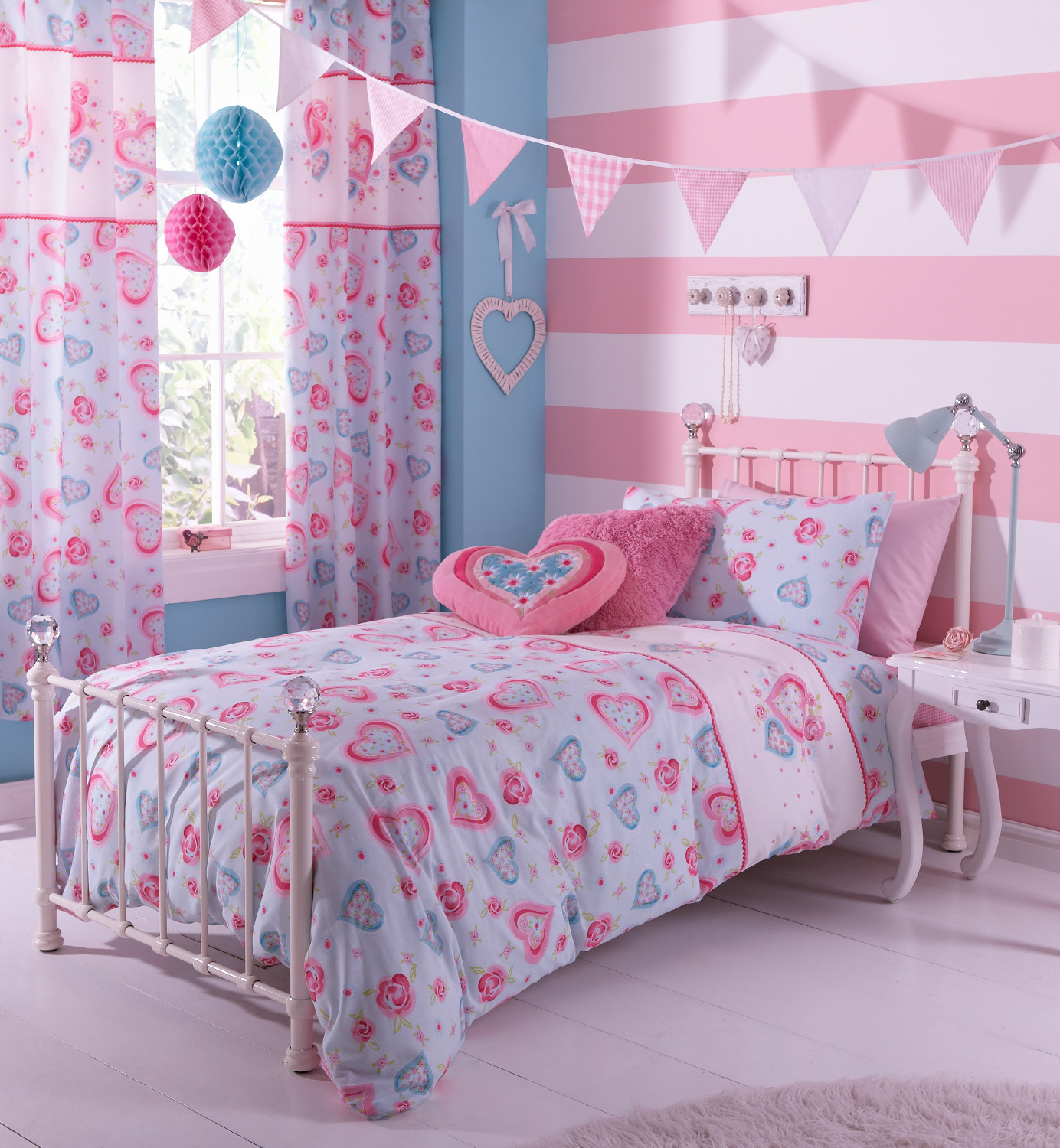h bsche herzchen blumen bettw sche catherine lansfield m dchen bettw scheset ebay. Black Bedroom Furniture Sets. Home Design Ideas