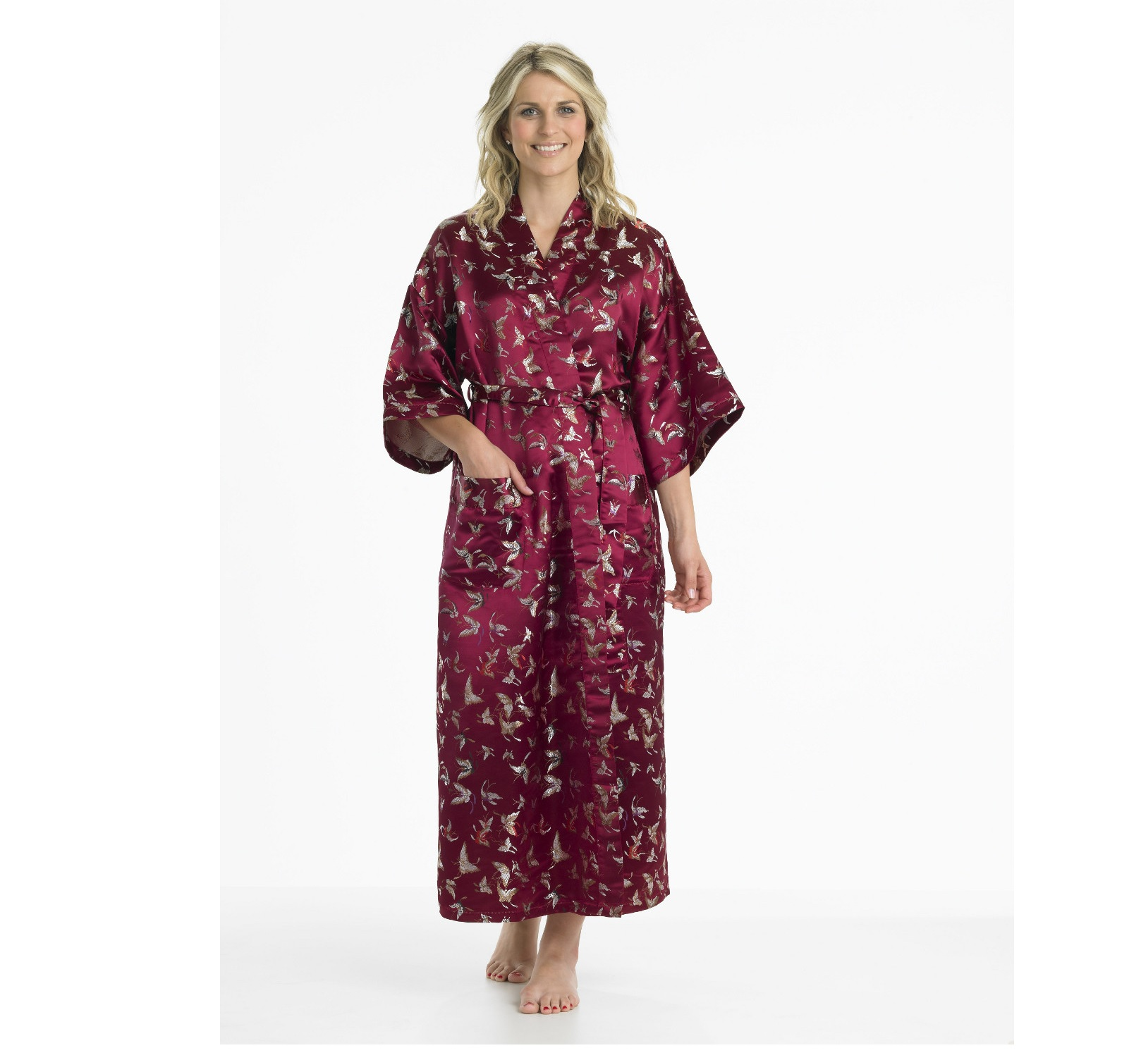 Ladies Gaspe Slenderella Long Kimono Dressing Gown Embroidered ...