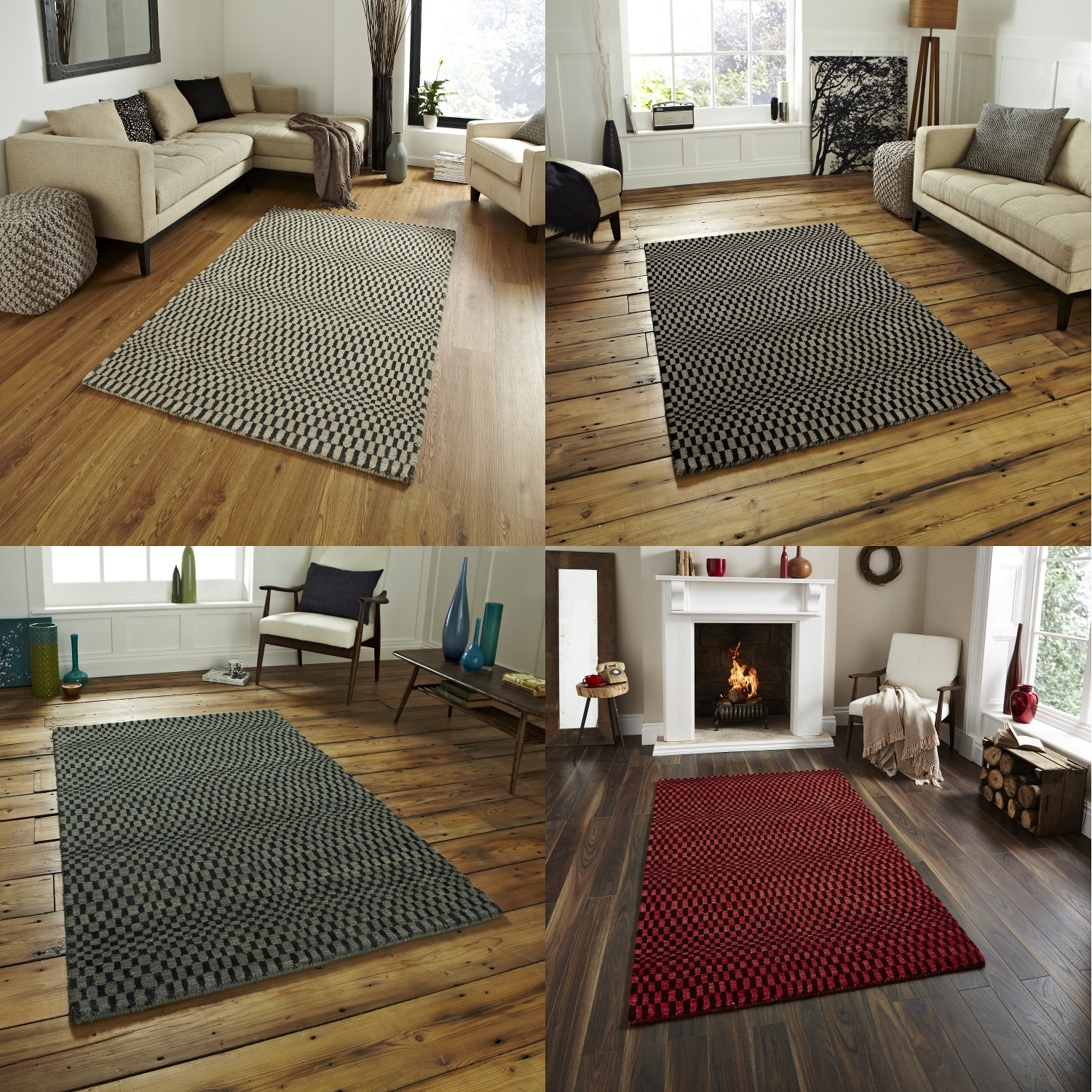 illusion optical rug wave sonic floor mat effect knotted wool hand grey beige description