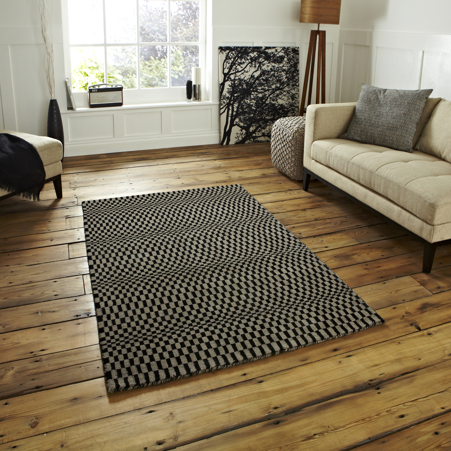Sonic Wave Effect Optical Illusion Large Floor Mat