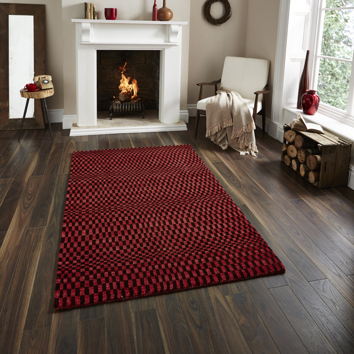 illusion large floor rug wave ebay sn itm hand rugs knotted wool optical mat red effect sonic
