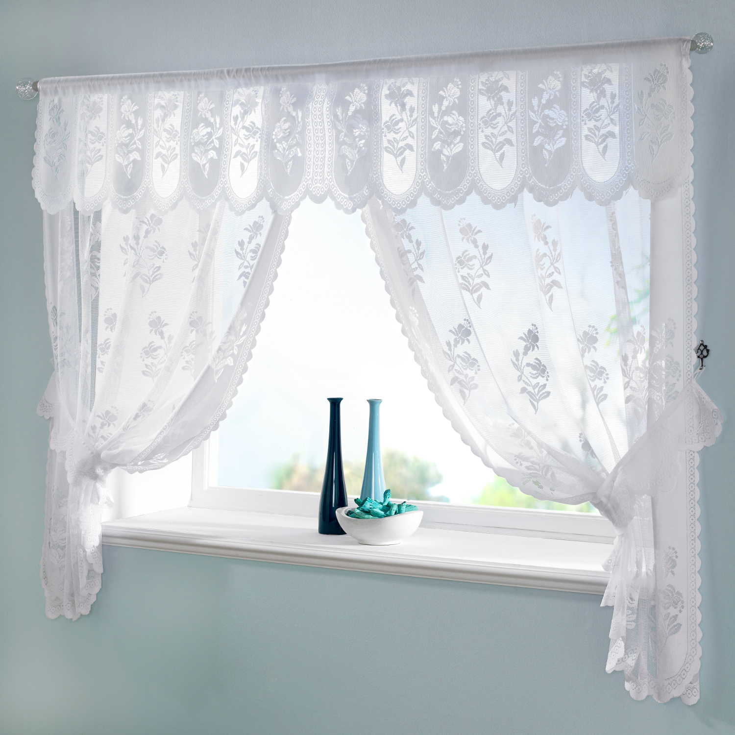 Floral Net Curtain Window Set Traditional Susan Scalloped