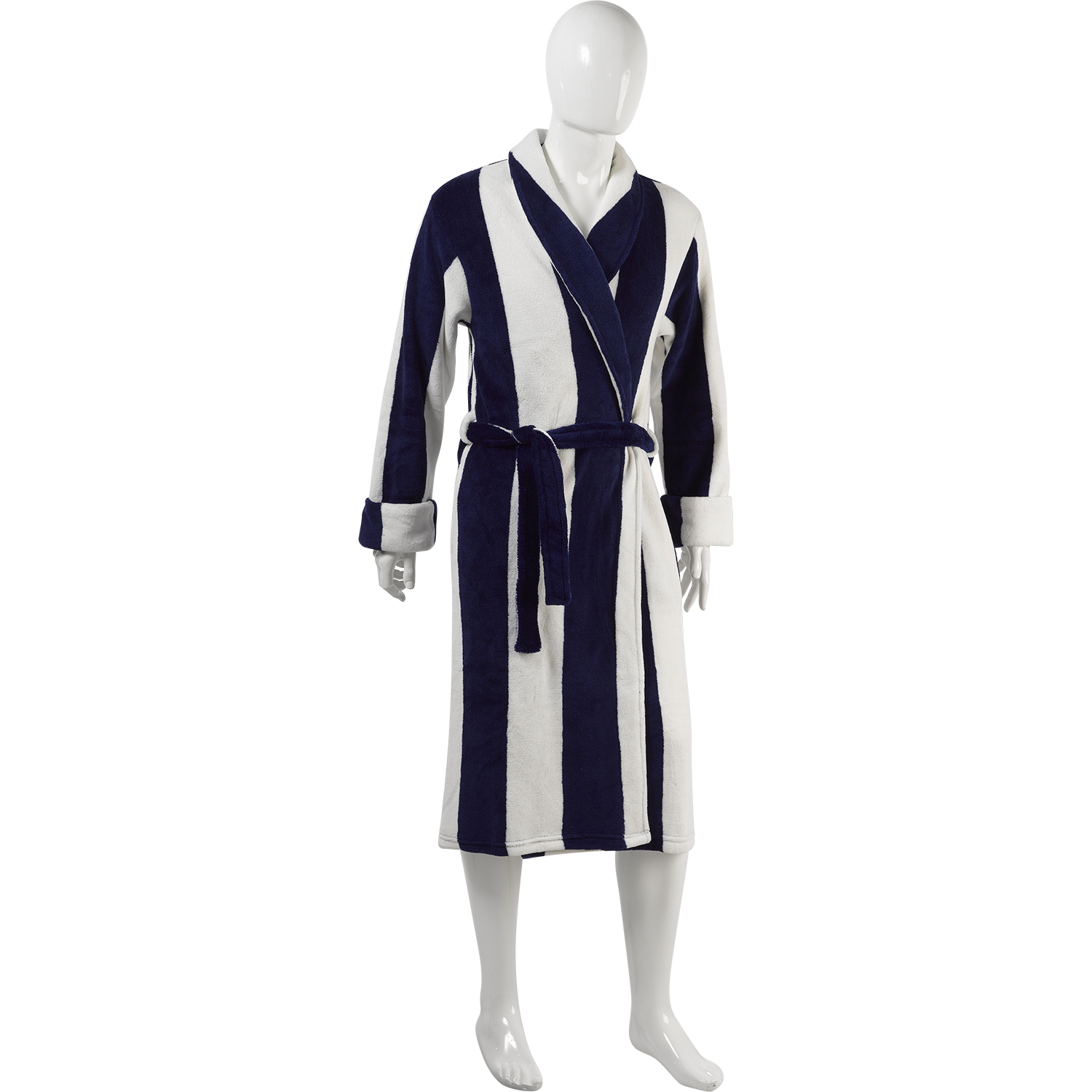 Ladies Mens Slenderella Striped Dressing Gown Soft Coral Fleece ...