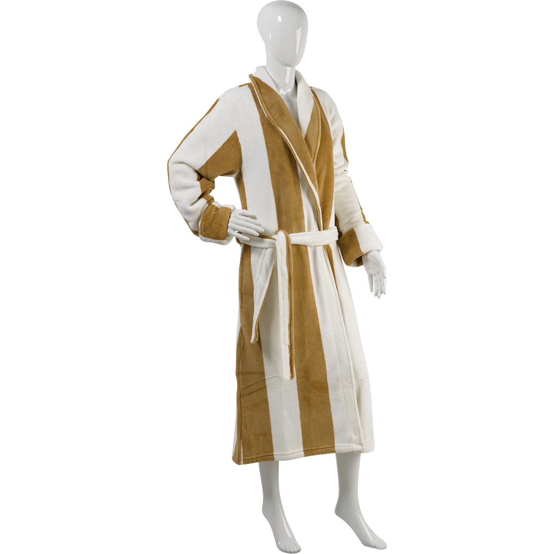 Slenderella Unisex Stripe Coral Fleece Dressing Gown Wrap Around ...