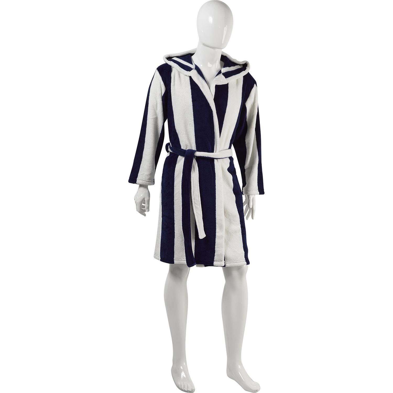 Slenderella Unisex Stripe Coral Fleece Hooded Dressing Gown Wrap ...